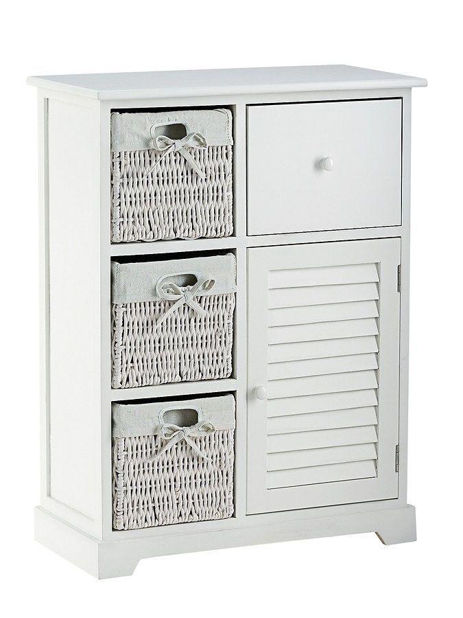 Kommode weiß, H B T ca80 60 30cm, 3 Körbe, 1 Schublade, 1 Tür - wohnzimmer kommode weis