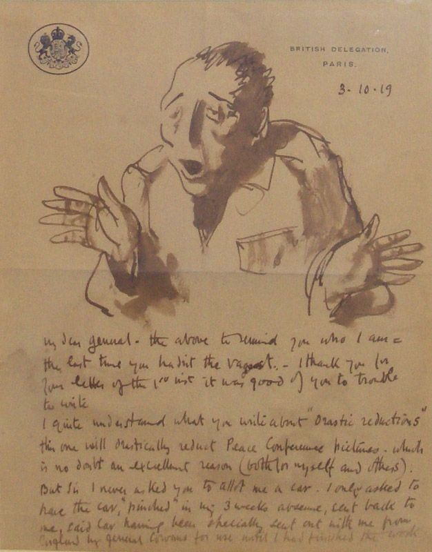 Sir William Orpen Ra Rha  Wartime Letter Ink And Wash