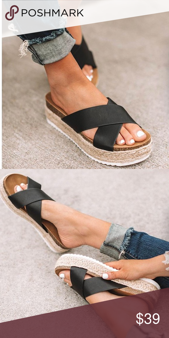 971d4426204 Black X Strap Espadrille Platform Sandals A basic stylish spring/summer  must have!! The espadrille woven platform - this seasons hottest shoe trend!