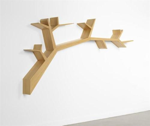 Permanent Link To Wooden Book Storage With Unique Tree Design At Wall