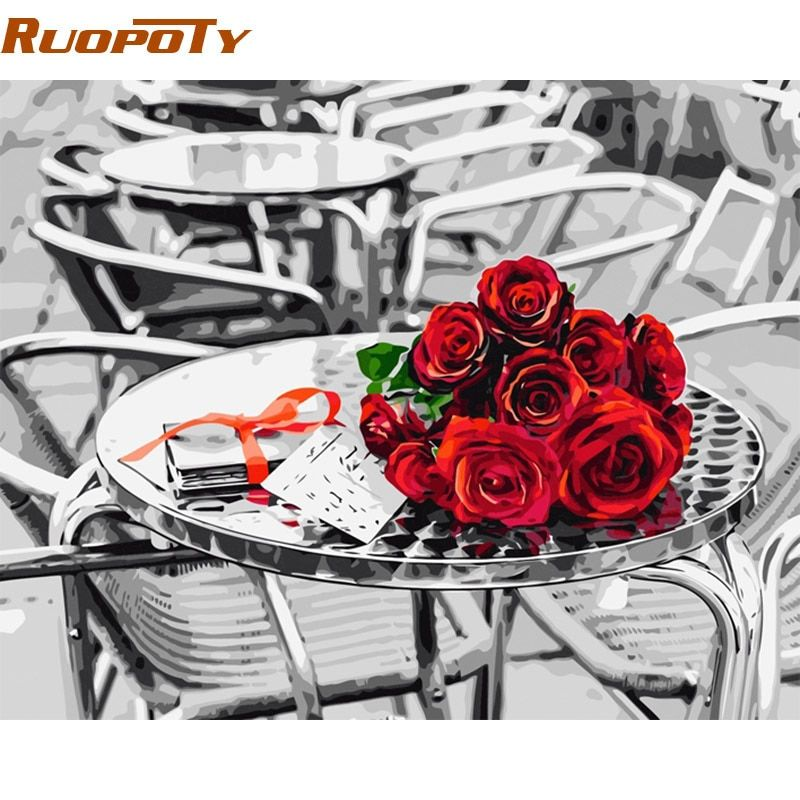 RUOPOTY Frameless Rose DIY Painting By Numbers Kits