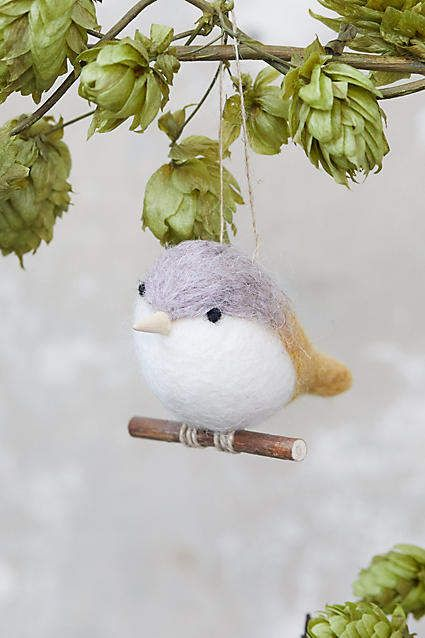 Anthropologie Felt Bird on a Branch Ornament #feltbirds