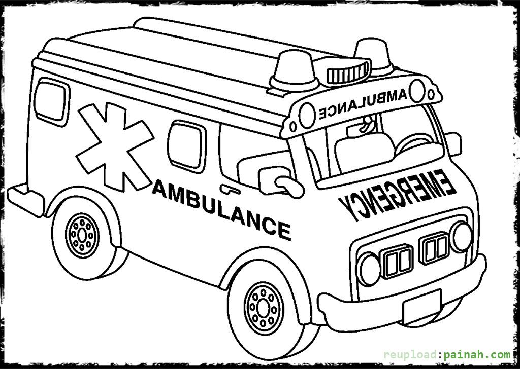 ambulance coloring pages and building coloring pages
