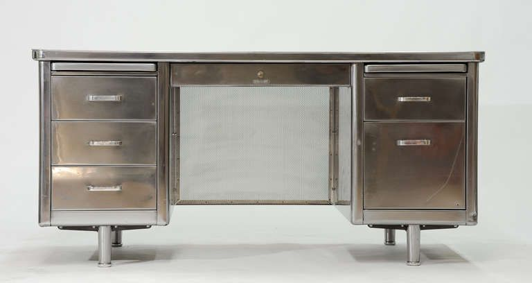 Vintage Steelcase Double Bank Tanker Desk