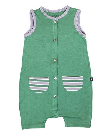 Love this Green Snap-Up Pocket Romper - Infant on #zulily! #zulilyfinds