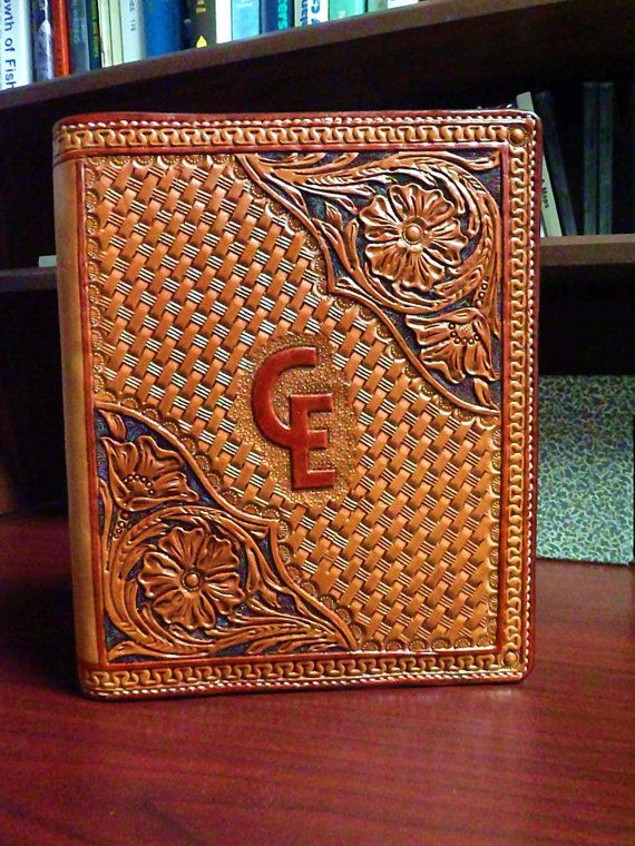 hand tooled leather appointment book or calendar cover