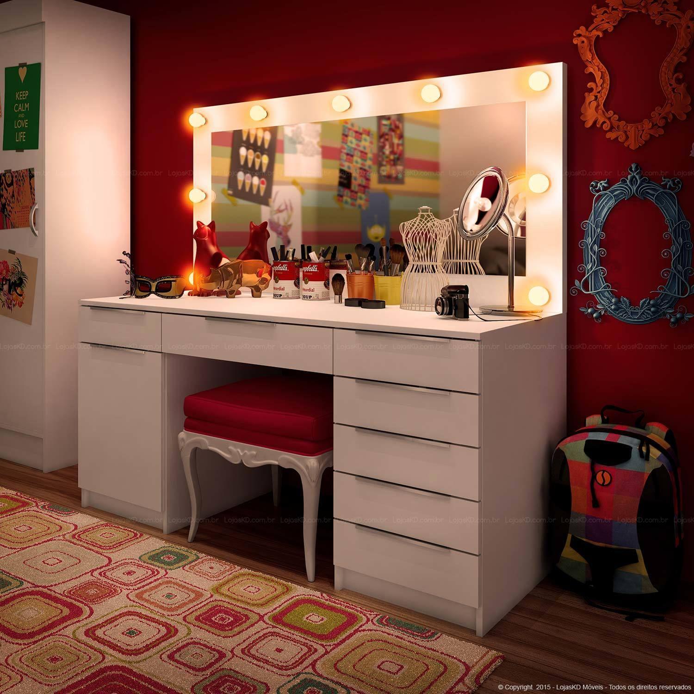 Penteadeira Com Espelho 1 Porta E 7 Gavetas Camarim Branco  ~ Espelho Decorado Para Quarto E Quarto Feminino Vintage