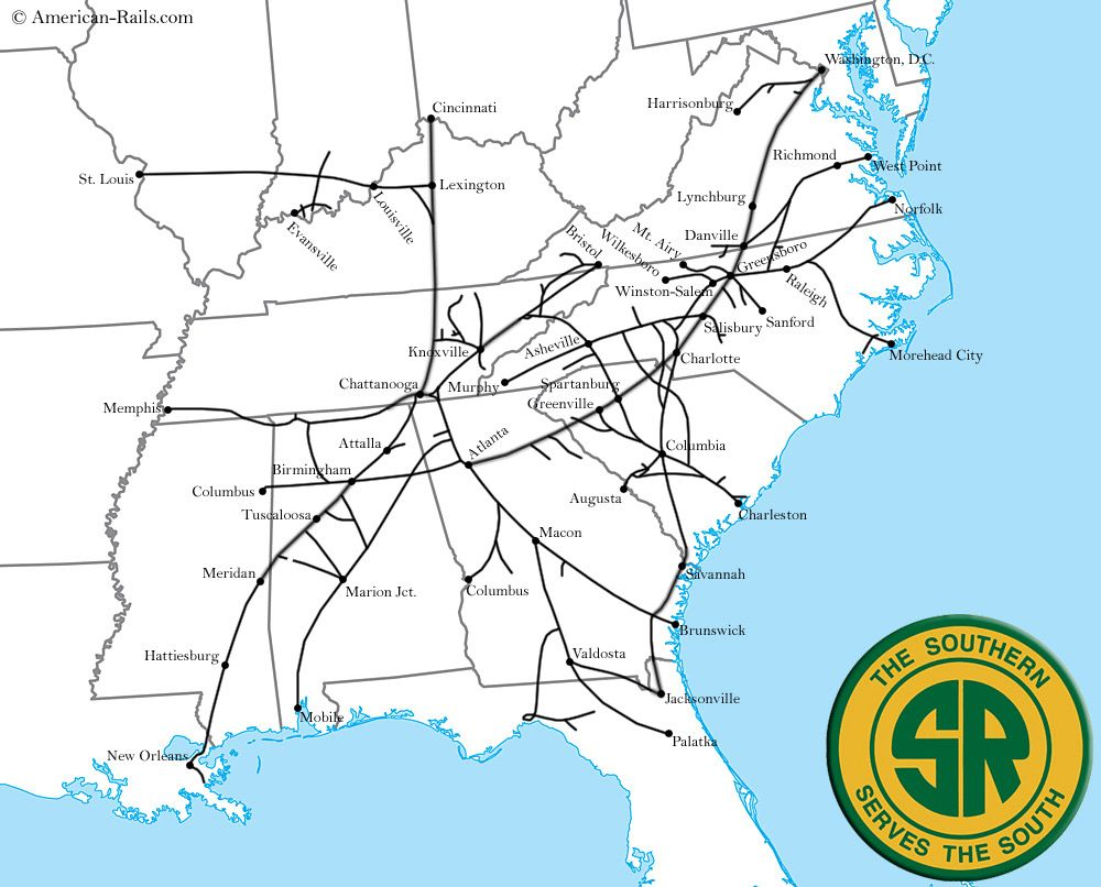 The Southern Railway Southern Railways Route Map Norfolk Southern