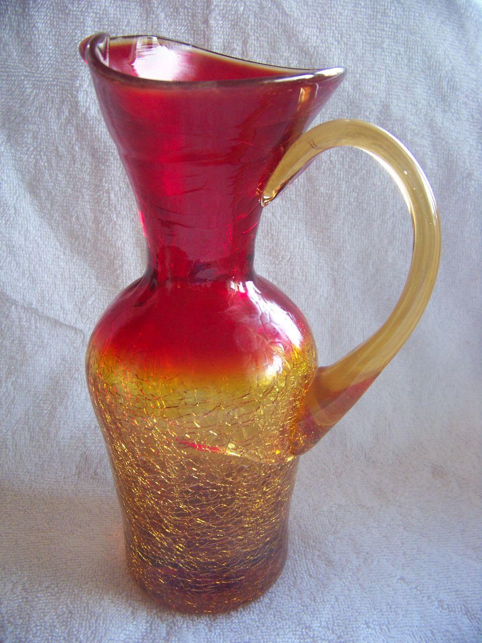glass amberina crackle pitcher pitchers antique vase blenko decanter glasses viking blown bottles visit vases kiss
