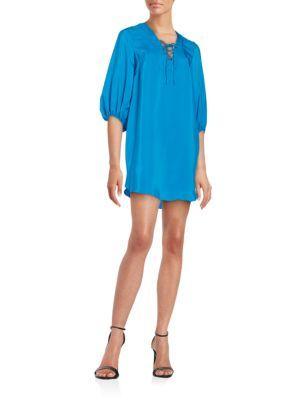 AMANDA UPRICHARD Silk Lace-Up Shift Dress. #amandauprichard #cloth #dress