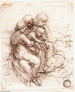 estudo de primeiro anne, mary, o cristo criança e o jovem primeiro joão - (Leonardo Da Vinci)