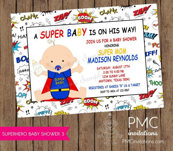 Superhero Baby Shower Invitations 1 00 Each With Envelopes