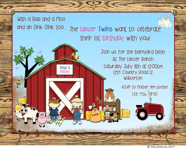 Joint Farm Animal Birthday Invitations Double Barnyard Party Fun