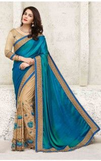 8c0273a5a5 Blue Sana Silk Party Wear Saree-PW11013A   saree in 2019   Saree ...