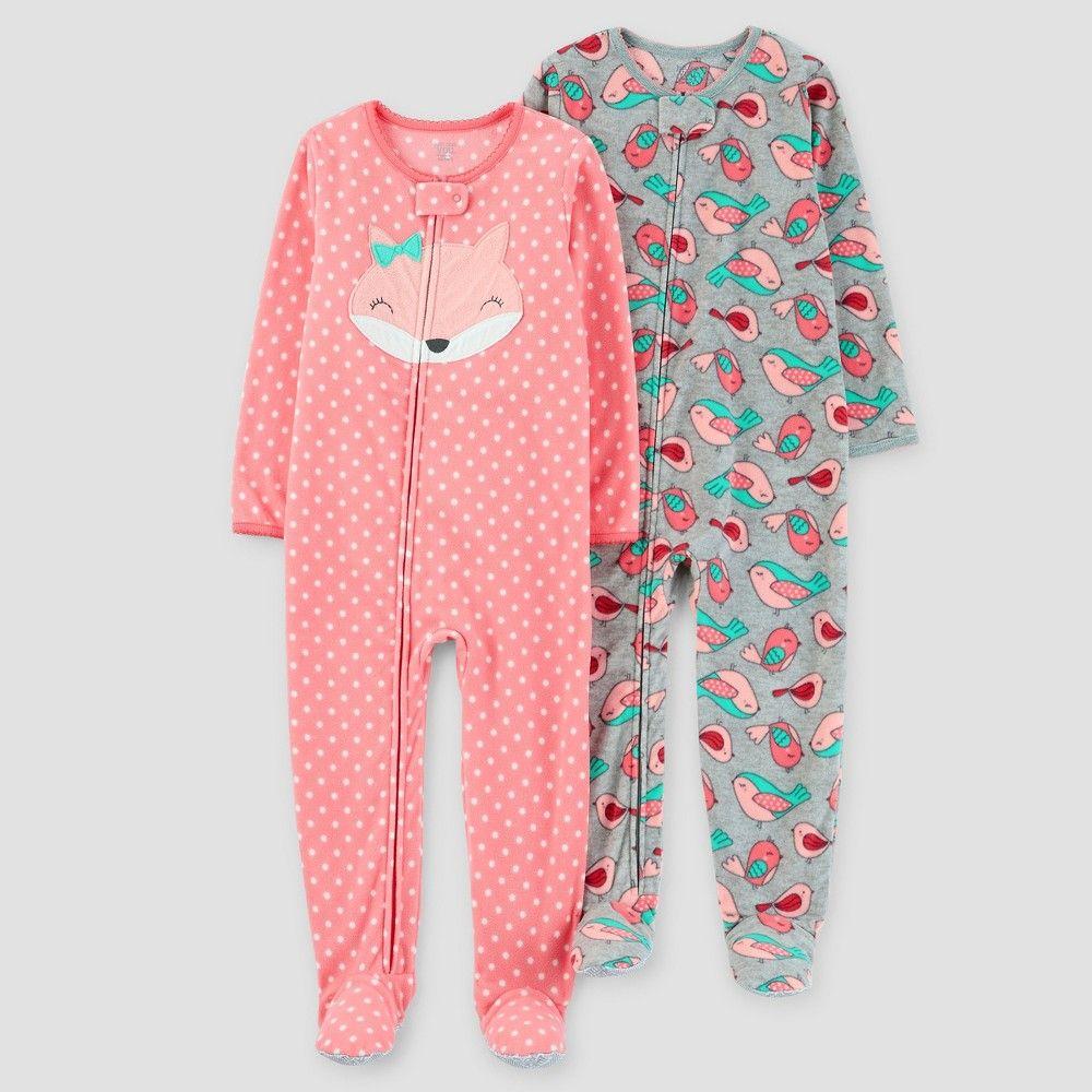 aedcb9d7a Baby Girls  2pk Fox Polka Dots One Piece Fleece Pajama - Just One ...