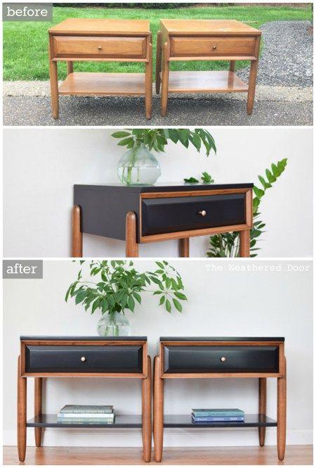 diy modern vintage furniture makeover. satin black mid century nightstand makeovers furniture makeoverdiy diy modern vintage makeover r