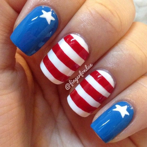 Prohesion Acrylic Nails With Gelish And American Flag Nail Art Freehand Design American Flag Nails Flag Nails Cute Acrylic Nails