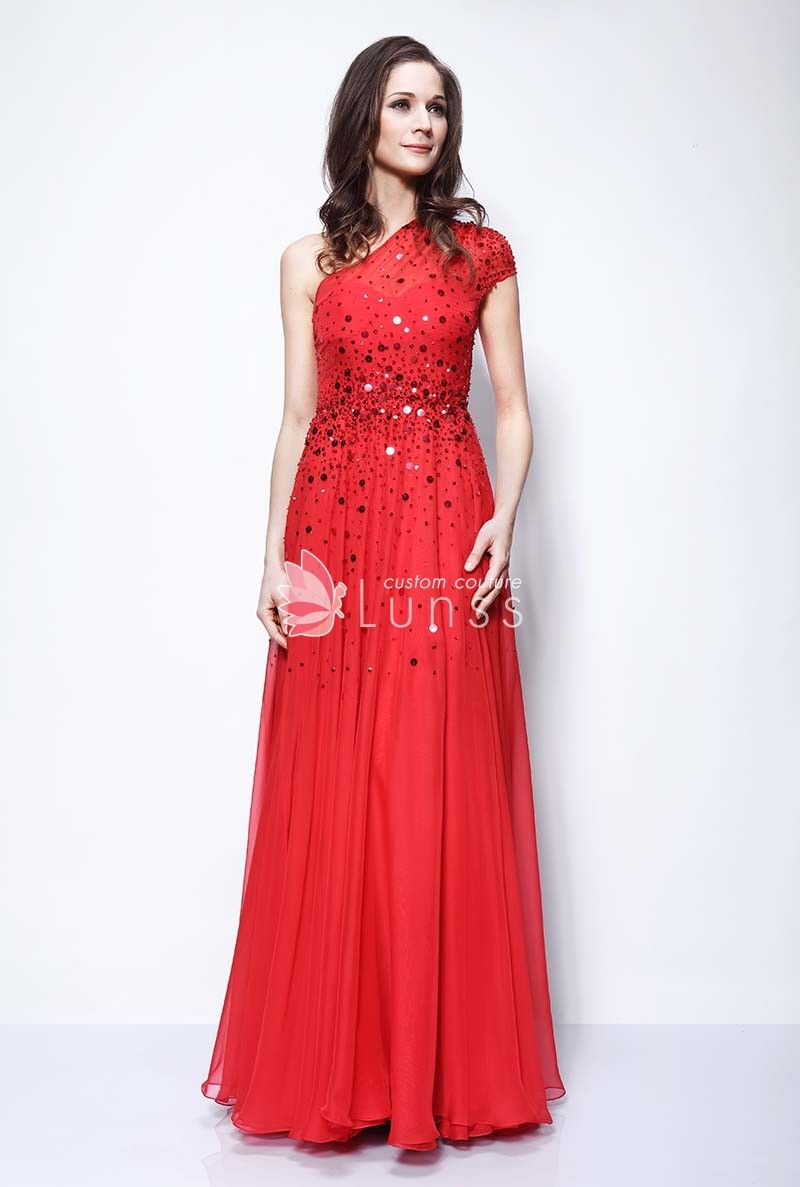 d740da75cdad Illusion One Shoulder Cap Sleeve Fashion Sequin Red Chiffon Evening Prom  Dress