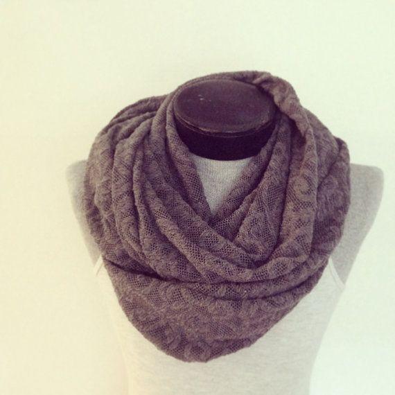 Warm jersey sweater knit gray infinity scarf/ made in by Msfiggys