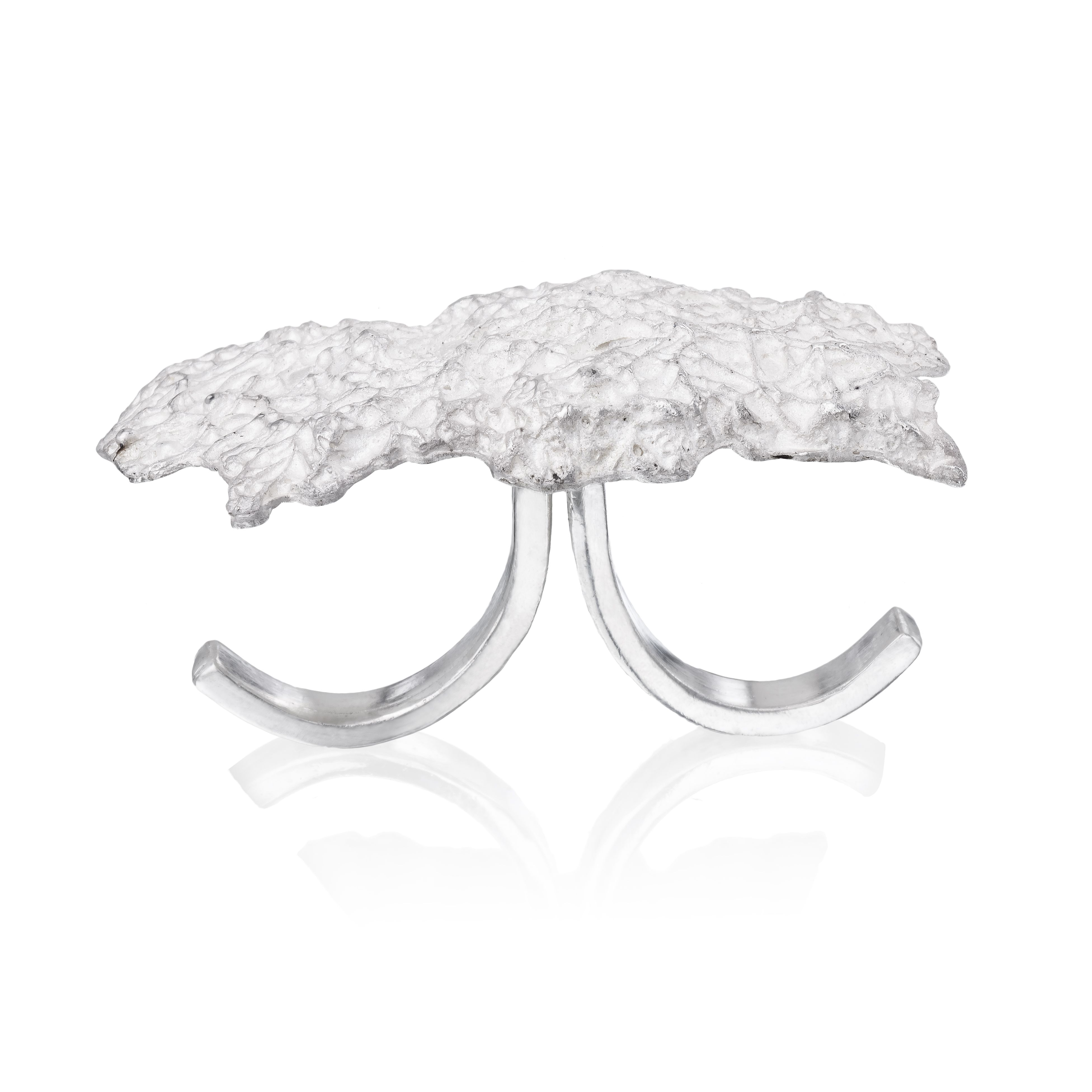 Big Cloud Ring by Maya Sebbah | Jewelry Artist. Texture Ring. Two Finger Ring, Double Ring. Statement Ring.