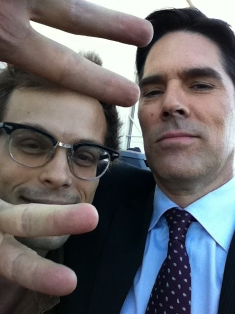 Matthew Gray Gubler and Thomas Gibson! again, how you so serious, such a good actor