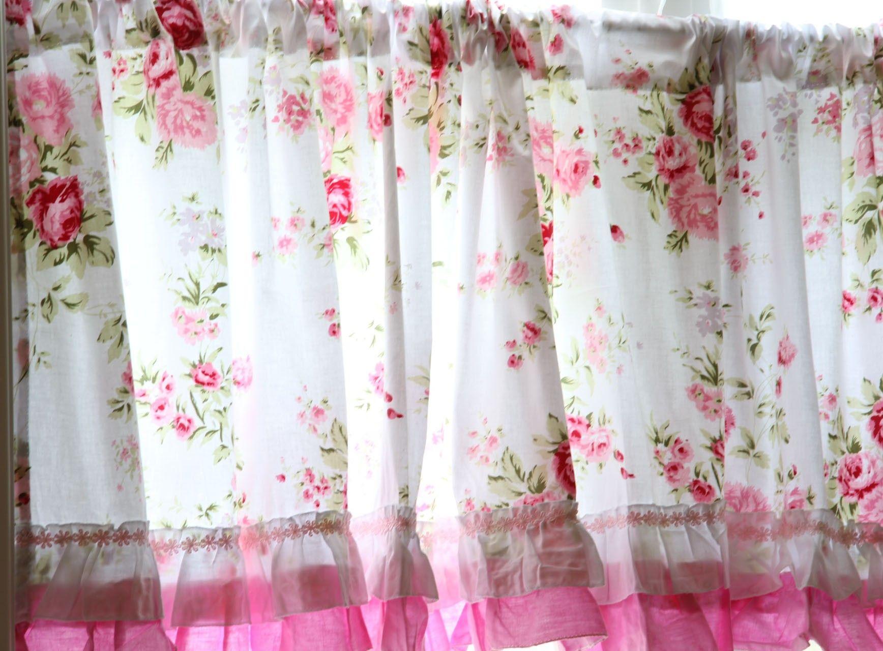 Shabby Chic Wildflower Coffee Curtain   White kitchen curtains ...