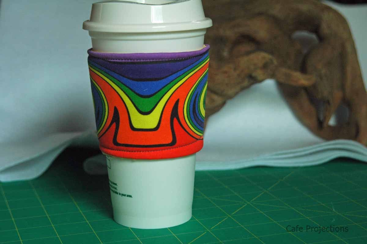 Mirrored Swirls Rainbow - Coffee Sleeve #7 by CafeProjections on Etsy