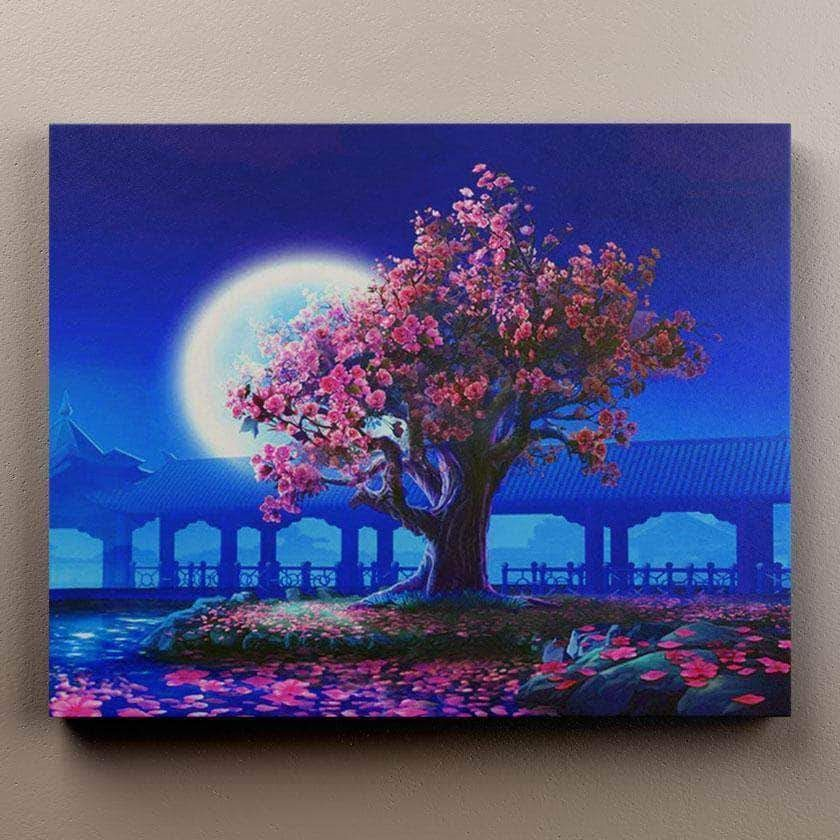 Full Moon Cherry Blossom Limited Edition Cherry Blossom Painting Cherry Blossom Art Amazing Art Painting