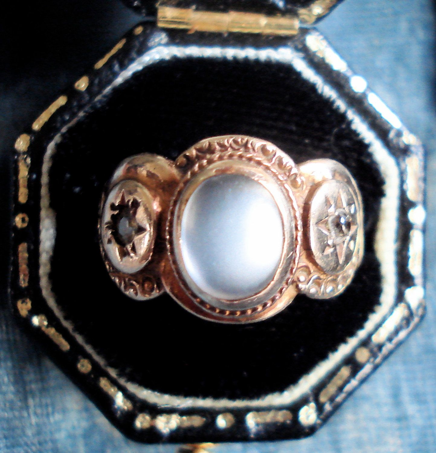 Antique Victorian Moonstone and Diamond Ring