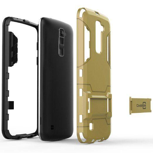 Amazon.com: LG K10 Case, LG Premier Case, CoverON® [Shadow Armor Series] Hard Slim Hybrid Kickstand Phone Cover Case for LG K10 - Navy Gray & Black: Cell Phones & Accessories