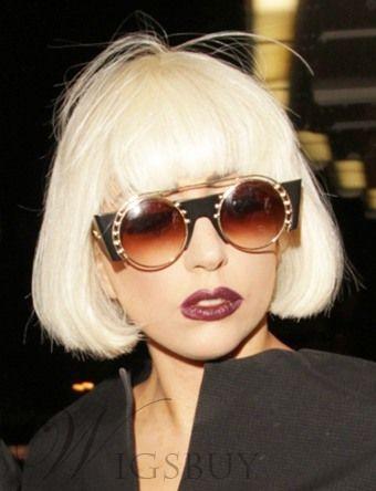 Cool Gorgeous Lady Gaga Hairstyle Short Straight Bob Wig 100 Human Hair 8 Inches Seize It Human Hair Wigs Blonde Short Hair Styles Wig Hairstyles