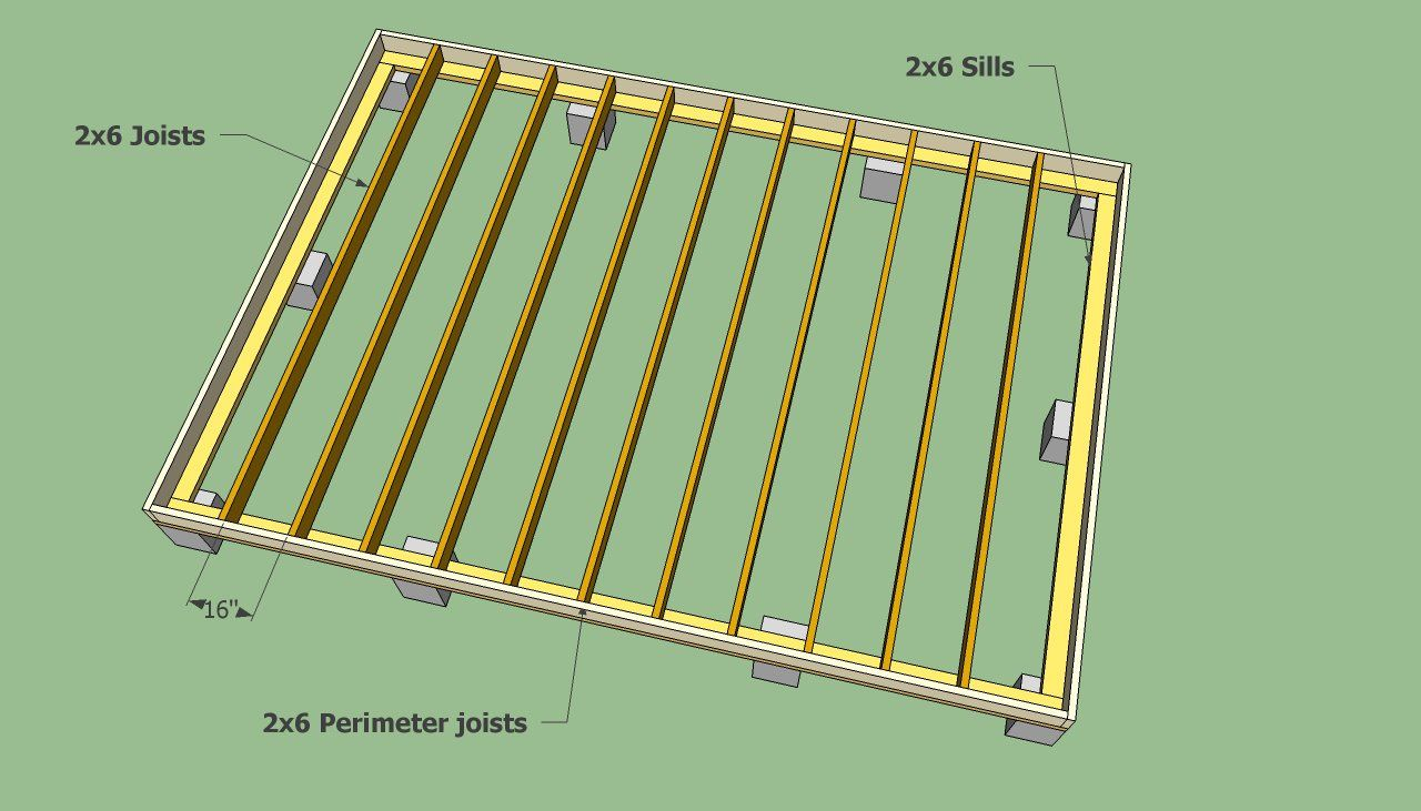 Storage shed floor joists remise en l pinterest for Wood floor joist spacing