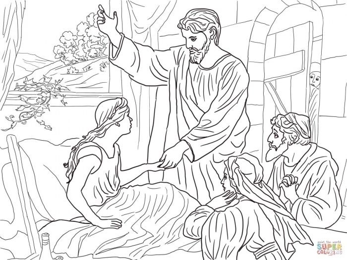 Jesus Raises Jairus Daughter Coloring Page Free Printable Jairus