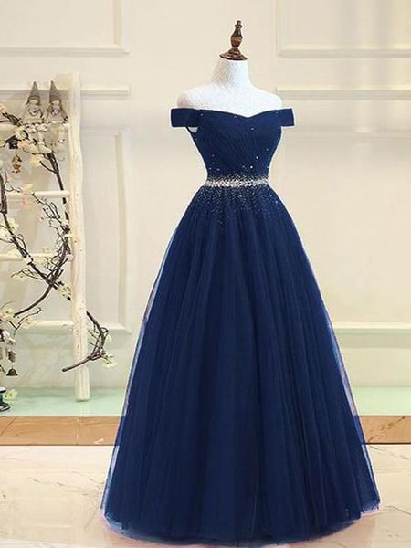Off Shoulder Navy Tulle A line Beaded Long Evening
