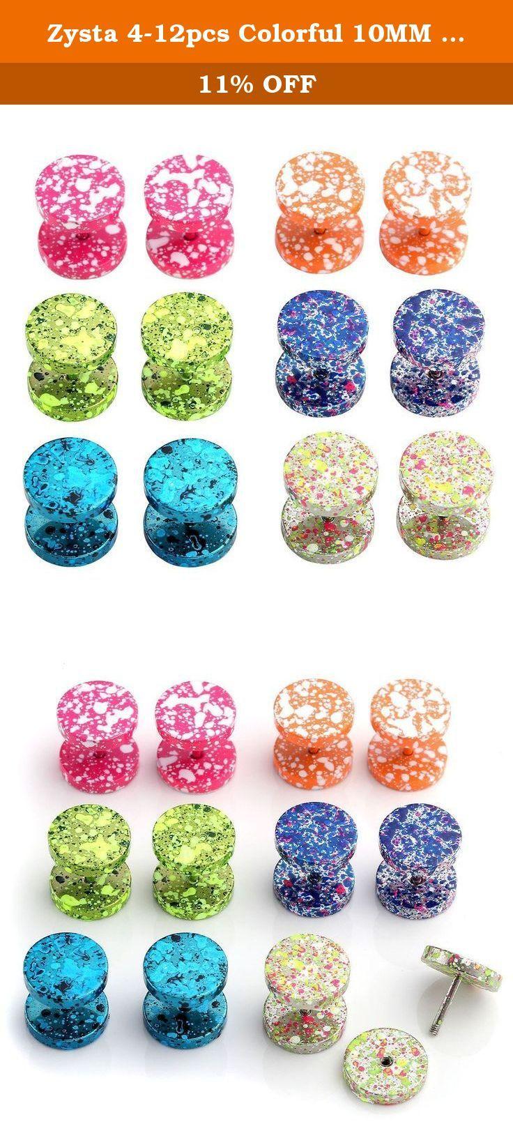 04dfe330b9398 Zysta 4-12pcs Colorful 10MM Screw Stud Earrings Mens Stainless Steel ...