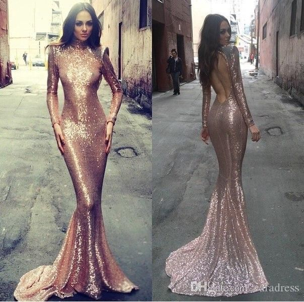 2017 Sparkly Sequined Mermaid Prom Dresses Backless Formal Evening ...