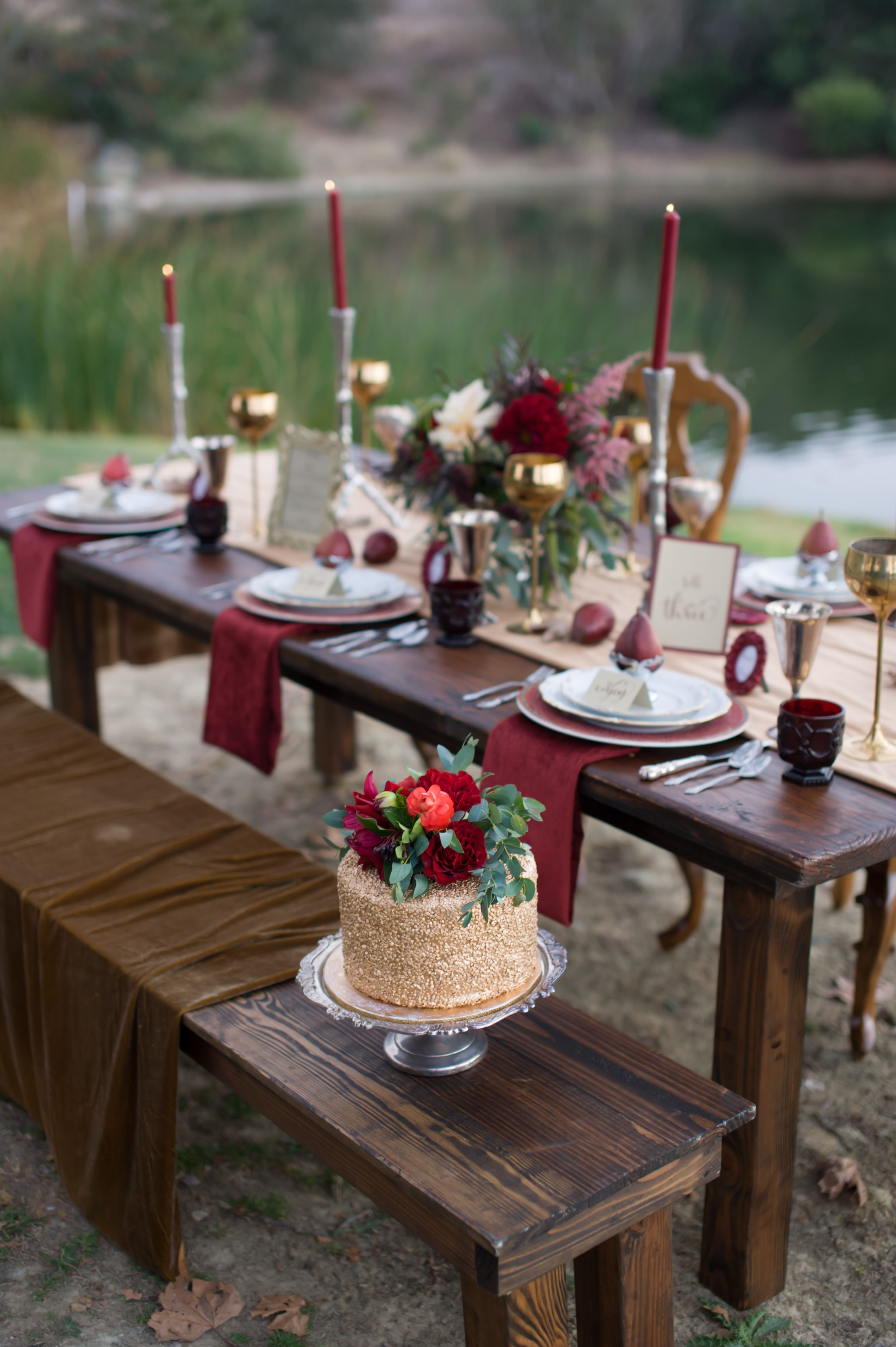 Marsala Tablescape Design. Rustic Glam . Tablescape Created By  Www.rusticvintageevents.com