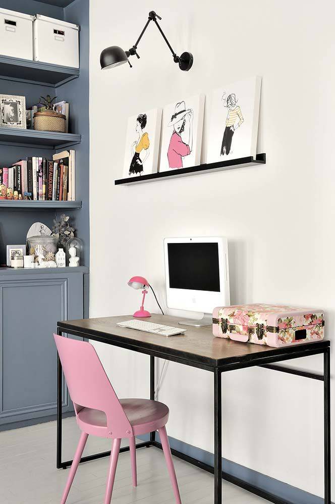 <3 floral case for desktop supplies. Love this creative workspace + at home office~
