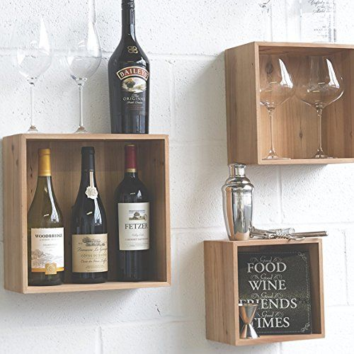 Wall Mounted Modular Cube Wood Floating Shelf Home Organization Kitchen Storage Wine Bottle Rack Shelf Natural Birch Set of 3