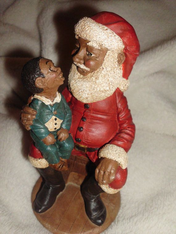 RARE Vintage Black Santa with child