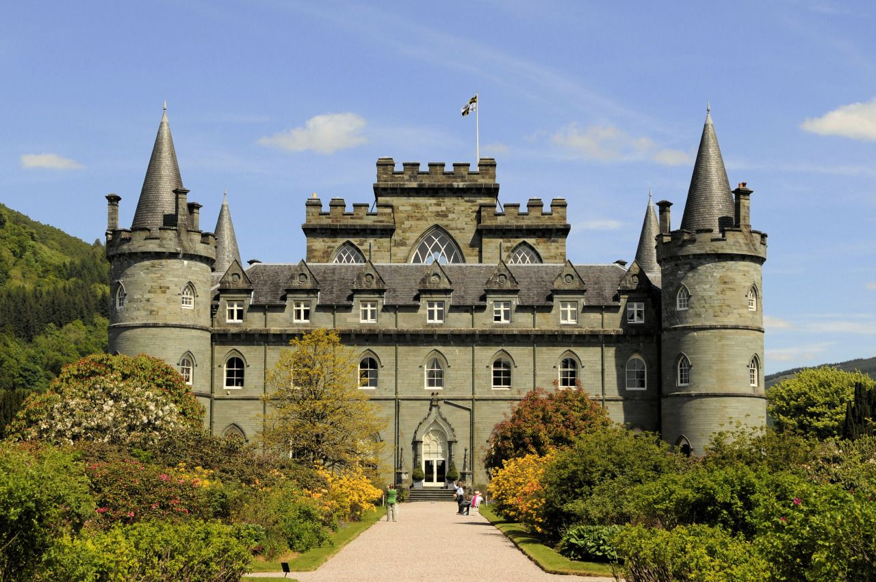 Inveraray Castle main entrance, Inveraray, Argyll county, Scotland - This multi-turreted mock Gothic palace is the family home of the powerful Clan Campbell, who have been the Dukes of Argyll since 1701.    via Magnus Manske