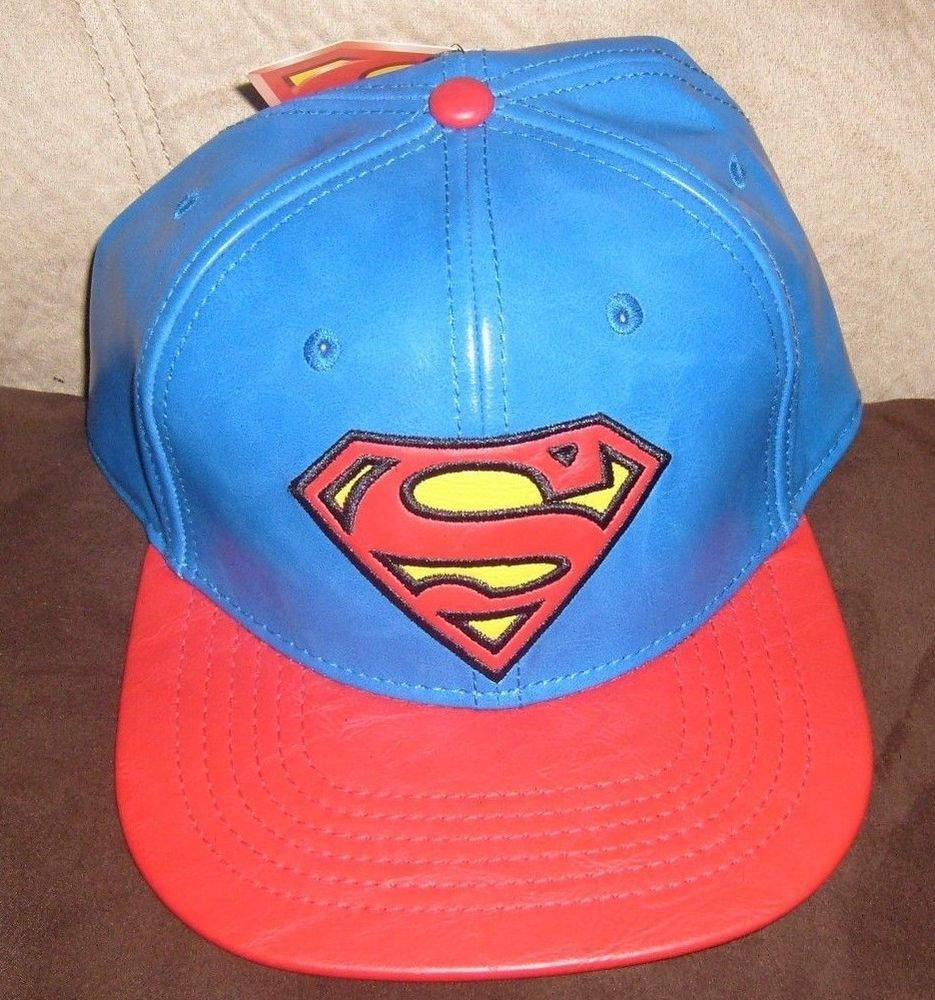 a9aafdb18a599 DC COMIC SUPERMAN LOGO SNAPBACK HAT BLUE   RED LEATHER LOOK FLAT BRIM CAP  NEW  SPENCERS  BaseballCap
