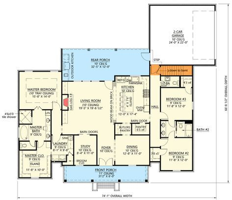 Plan 56437SM: Modern Farmhouse Plan with Private Master Suite #modernfarmhouse