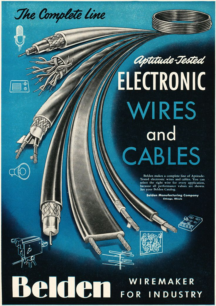 1954 ad for Belden wire and cables in Reel2ReelTexas.com\'s vintage ...