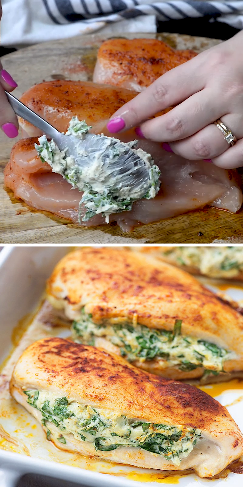 Low carb and keto friendly! This spinach stuffed chicken is a family favorite and it's easier than you'd think!Low #carb #and #keto #friendly! #This #spinach #stuffed #chicken #is #a #family #favorite #and #it's #easier #than #you'd #think! #spinach