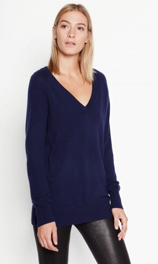 Asher v-neck cashmere sweater | Peacoat, Cashmere and Products