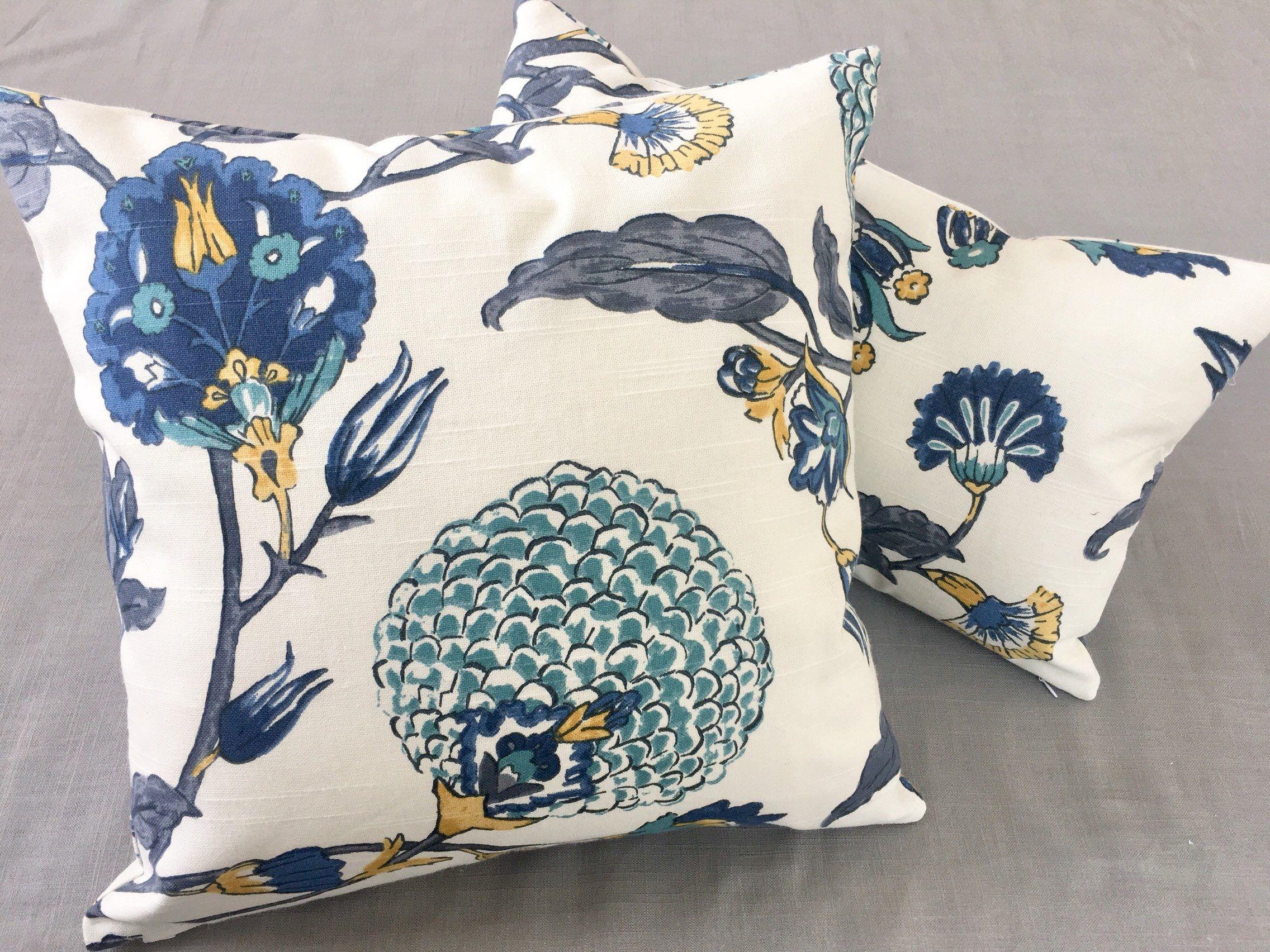 Blue Floral Accent Pillows Blue Accent Pillows Floral Pillow Blue Floral Pillow Etsy Blueflor Floral Accent Pillow Blue Throw Pillow Cover Blue Accent Pillow