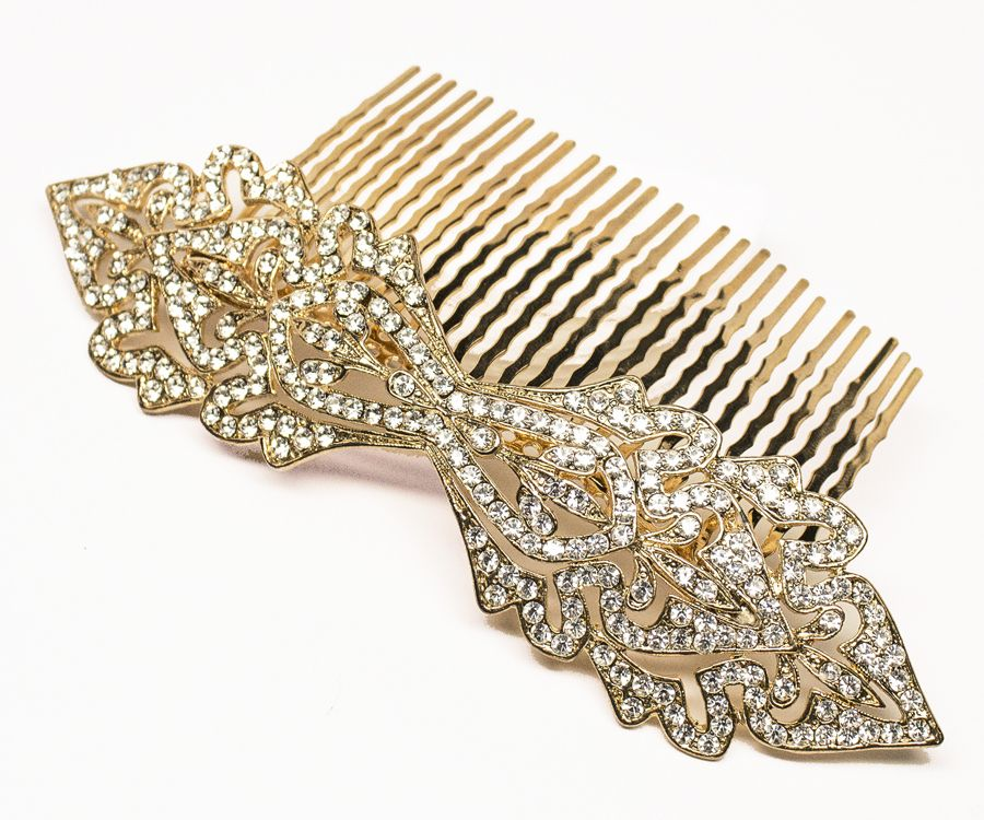 Hair Comes the Bride - Vintage Rhinestone Bridal Hair Comb ~ Pauline in Gold, $78.00 (http://www.haircomesthebride.com/vintage-rhinestone-bridal-hair-comb-pauline-in-gold/)