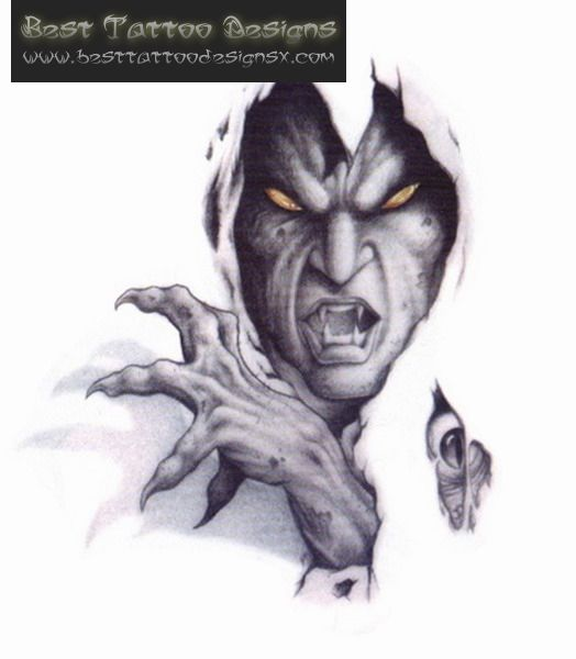 Ripped Skin Devil Tattoo On Back | Smoke Demon Tattoo ...