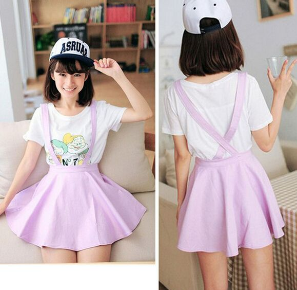 cute fashion women skirts kawaii pastel suspender skirt S M L - Thumbnail 4 d56888985
